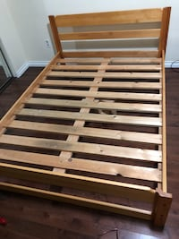 Solid maple wood double bed frame & mattress Vancouver, V6P 4E2