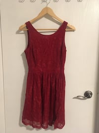 Forever 21 Red Lace Dress with Criss-Cross Back