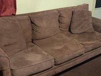 brown suede 3-seat sofa Charleston