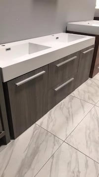 "54"" double sink modern bathroom vanity cabinet wall mounted in gray  Fairfax"