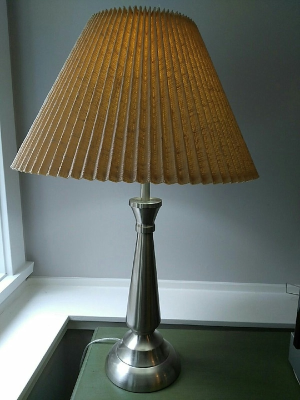 silver based with brown shade table lamp