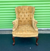 Vintage Modern - Tufted Honey Yellow Velvet Wingback Lounge Arm Chair Miami, 33179