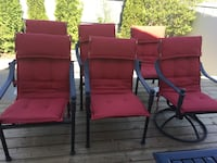 two red metal framed armchairs Edmonton, T5Y