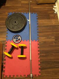 Barbbell bar $125 - 50lb plates $200 -ab roller $5 weights - home gym