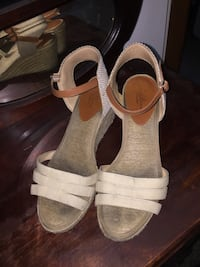 pair of white leather open-toe ankle strap heels Spokane Valley, 99216
