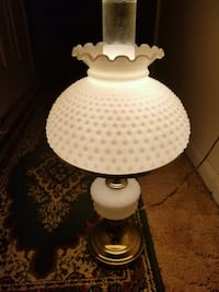 Vintage White Hobnail Milk Glass Parlor Table Lamp Midland, 22728