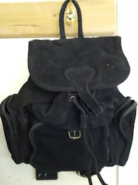 100% black suede leather knapsack