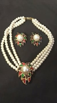 Antique Pearl Milti-Colored Necklace & Earring Set Clinton, 20735