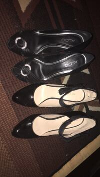 Three pairs of black and white leather pumps 3121 km