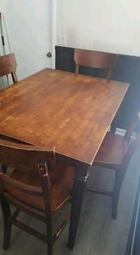 rectangular brown wooden table with six chairs dining set Longwood, 32750