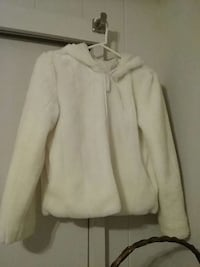 White fur jacket with hoody