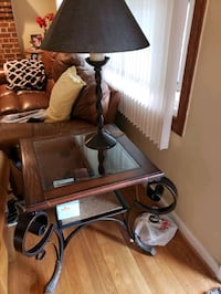End table and lamp.
