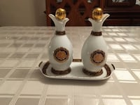 T.Limoges Bacchus Porcelain styl versace Oil and Vinegar Set with Tray Montreal