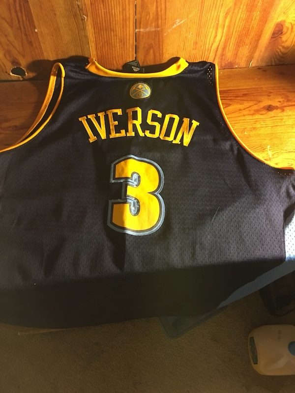 new style 48c37 33ad4 Allen Iverson throwback nuggets jersey XXL