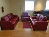 New red color sofa loveseat and chair 47 km