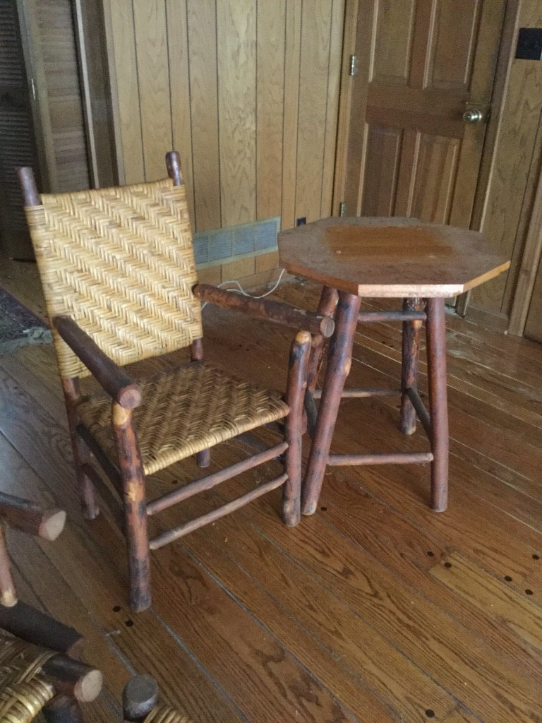 Octagon Brown Wooden Side Table And Armchair