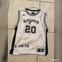 white and black Adidas Spurs 20 jersey shirt