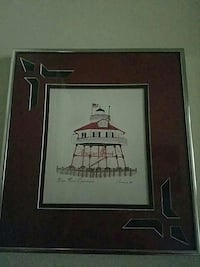 Drum Point Lighthouse Pen and Ink Print Framed