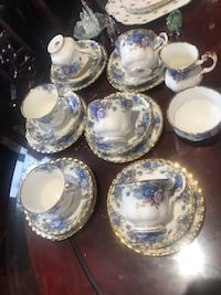 6 trio sets of Royal Albert Moonlight tea cups, cake plates
