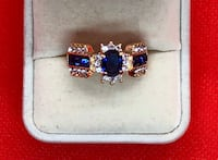 BRAND NEW • Blue & Clear Crystal Gold Tone Ring $10 FIRM