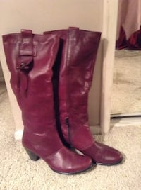 women's red brown leather half-zip knee-high chunky-heeled boots Anaheim, 92806