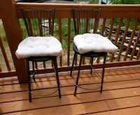 two white padded brown wooden chairs Waynesville, 28786