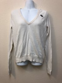 Abercrombie & Fitch White V-Neck Long Sleeve Sweater Davis, 95618