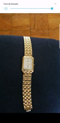square gold analog watch with link bracelet Aspen Hill, 20906