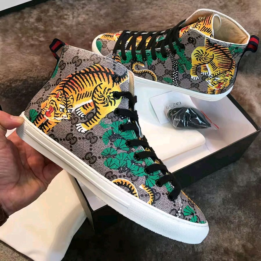 men's Gucci high top sneakers tiger edition