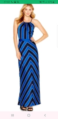 GUESS Laced Up Striped Maxi Dress