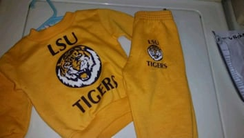Rabbit skins LSU two piece sweat outfit size 12 months