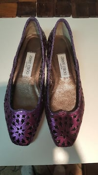 Authentic Jimmy Choo Purple Metallic Star Cutout Flats ALEXANDRIA