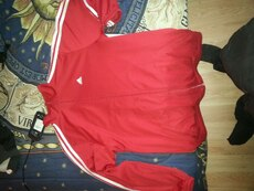 red and white Adidas zip up jacket
