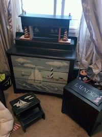 5 piece Hand Painted Nautical Themed bedroom Furn.