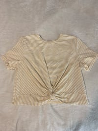 White and yellow striped crop T-shirt  Lake Country, V4V 2L2