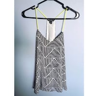 Black and white cami with yellow straps, size small