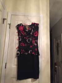 Black and red floral sleeveless dress. Size 12