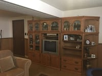5 Section Wall Unit, Solid Wood with Veneer Finish TORONTO