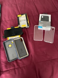 Iphone XS max cases.    2 otterbox cases ine holster.  3 other cases