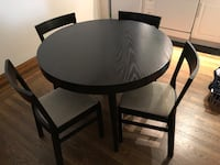 Black wooden circle dining table with 4 chairs New York, 10022