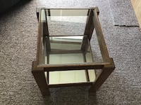 """Solid wood frame and legs , 2 tier table, glass top, mirrored bottom shelf, 15""""x17""""x18"""" high South Bruce Peninsula"""
