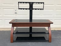 Wood and Glass TV Stand With Drawer Manassas, 20112