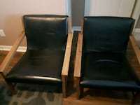 2 Wood and black  leather chair Pickering, L1V