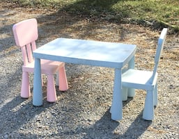 Kids table and chairs.  Size of table is 30 x 21 x 19 tall