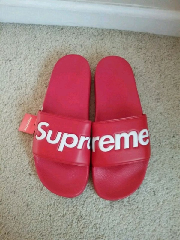 76b3fb38418d Used pair of red Adidas slide sandals for sale in San Jose - letgo