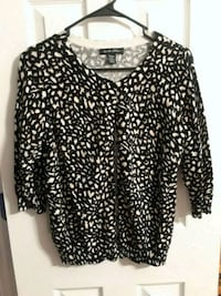 Animal print cardigan sweater