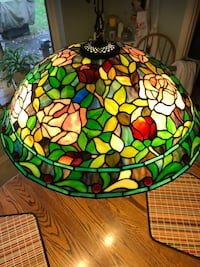 Multicolored glass etched hanging lamp Baldwin, 21013