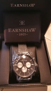 round black Earnshaw 1805 chronograph watch Wilmington, 19805