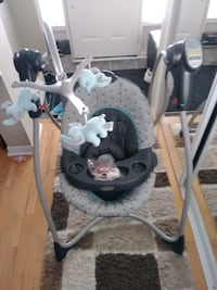 Baby's gray and white cradle and swing Toronto, M2J 1R3