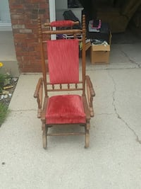 red and brown wooden armchair South Bend, 46637